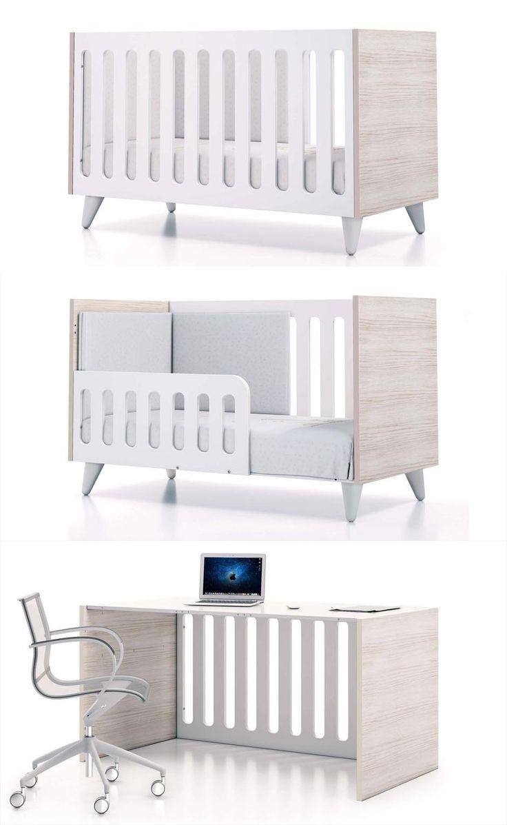 Habitaciones infantiles estilo nórdico. Cuna de bebe 70x140 Alondra evolutiva, convertible en cama o escritorio. Descubre todos sus detalles encantadores en nuestro blog.