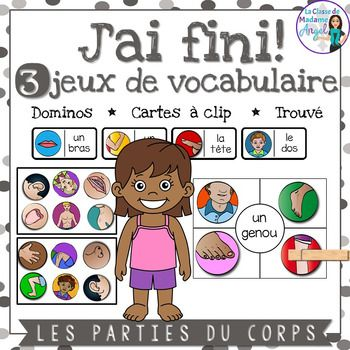 Parties du corps:  3 Parts of the Body Themed Vocabulary G