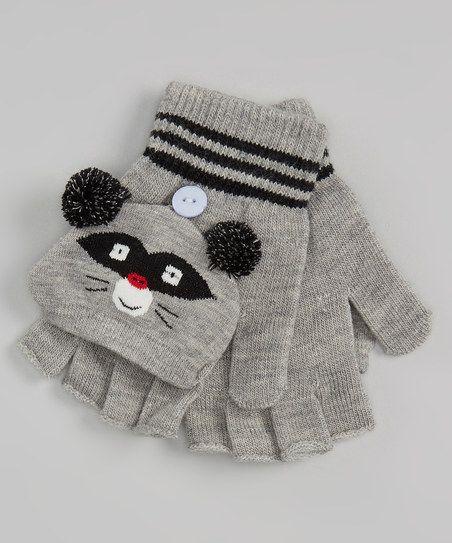 Gray Raccoon Convertible Mittens