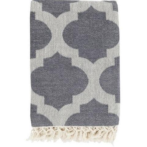 favorite grey quatrefoil pattern in a lightweight cotton decorative throw blanket