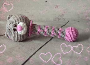 Teddy bear crochet rattle - free pattern