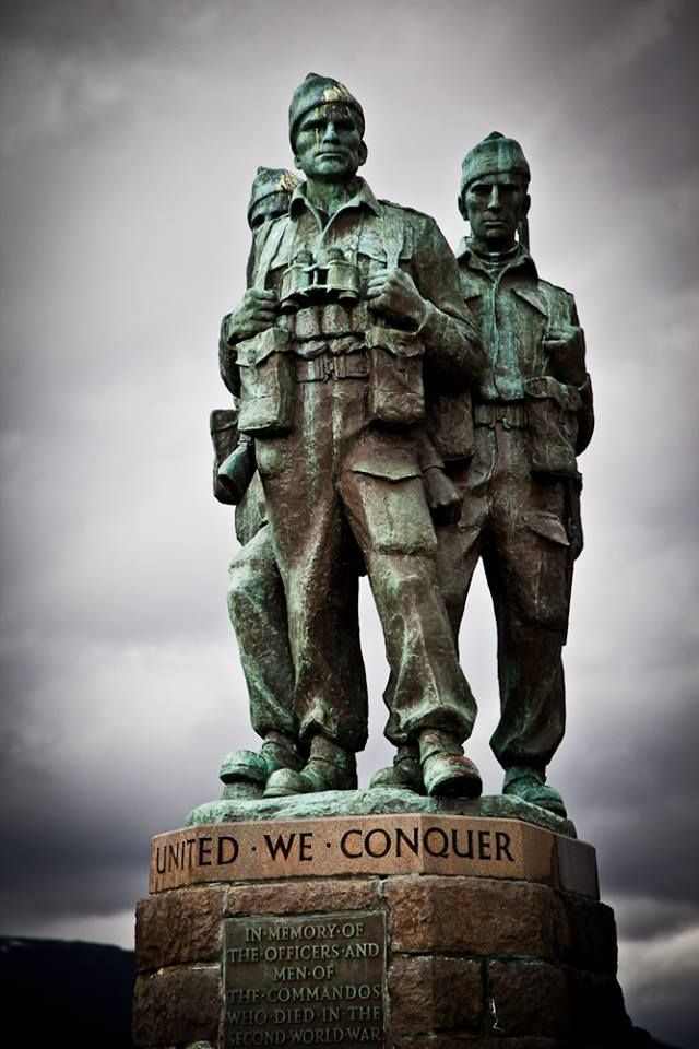 The Scottish Commando Memorial, commemorating the Commandos of World War Two. The memorial faces Ben Nevis and overlooks the training areas of the Commando Basic Training Centre, established in 1942 at Achnacarry Castle.