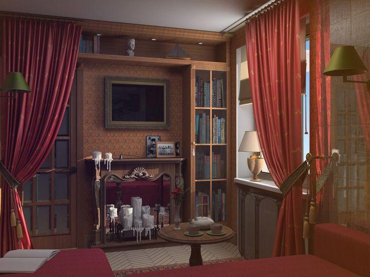 английский стиль,красная ткань,шторы красные,свечи
