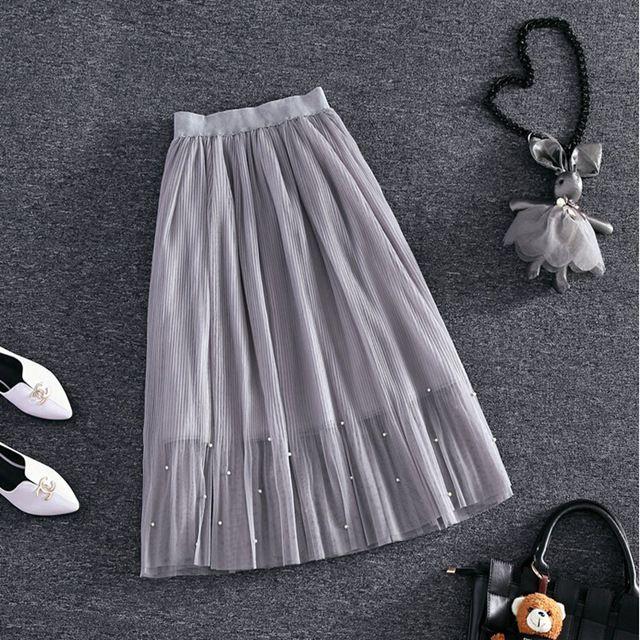 Эластичный пояс Кружева цветок длина юбки 2016 новая весна Корейских женщин Жемчужина Из Бисера марля юбка Юбки тела элегантный юбка