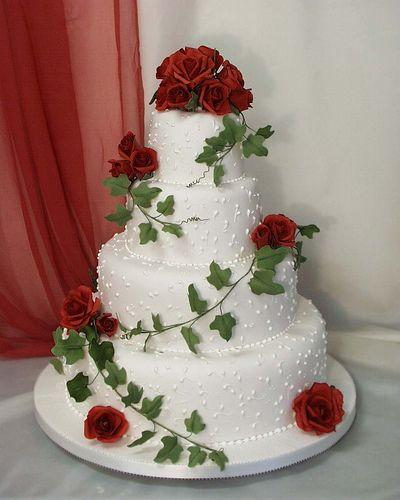 Red Roses with Stem Wedding Cake Ideas - Red velvet cake