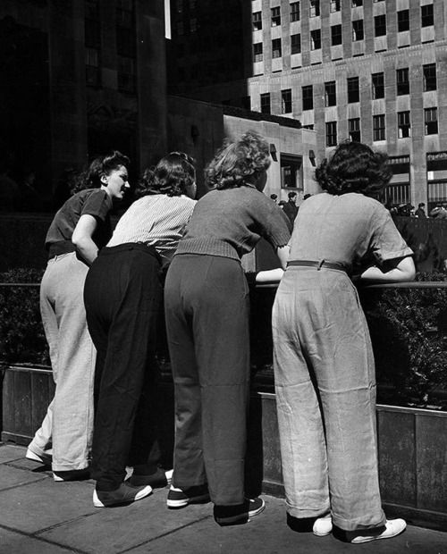 "75 years ago this week, the cover story of LIFE magazine was SLACKS. The photo essay ran in the MODERN LIVING section of the April 20, 1942 issue with the following headline: ""MEN LOSE THEIR PANTS TO SLACK-CRAZY WOMEN."" (Nina Leen—The LIFE Picture..."