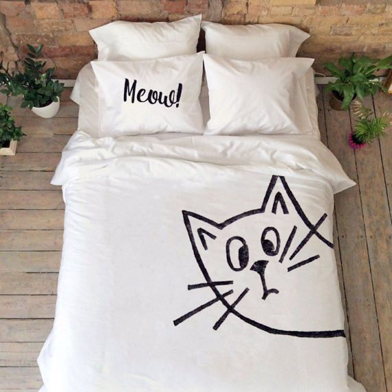 Meow cat bedding set Queen King Full Double Kitty Cat lovers