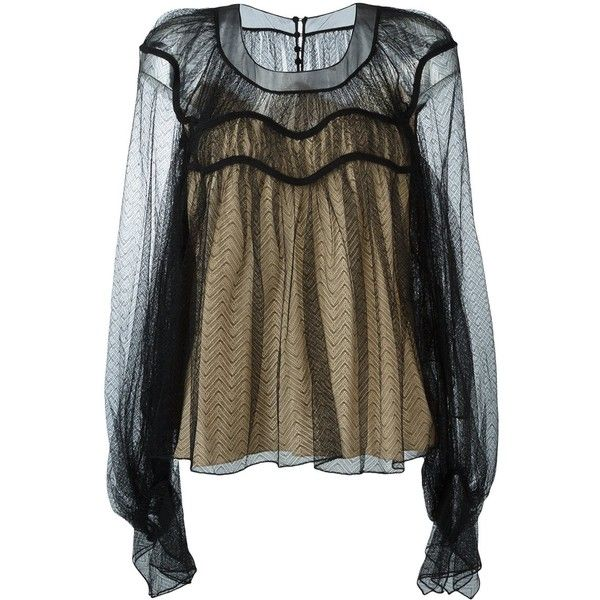 Chloé sheer chevron blouse (€1.940) ❤ liked on Polyvore featuring tops, blouses, black, ruffle sleeve blouse, flutter sleeve blouse, see through blouse, sheer chevron top and pleated blouse