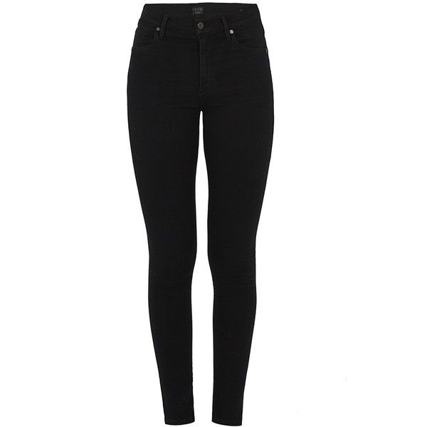 CITIZENS OF HUMANITY Carlie Jean in All Black ($355) ❤ liked on Polyvore featuring jeans, black, dark wash jeans, high-waisted skinny jeans, black jeans, black high rise jeans and high waisted black skinny jeans