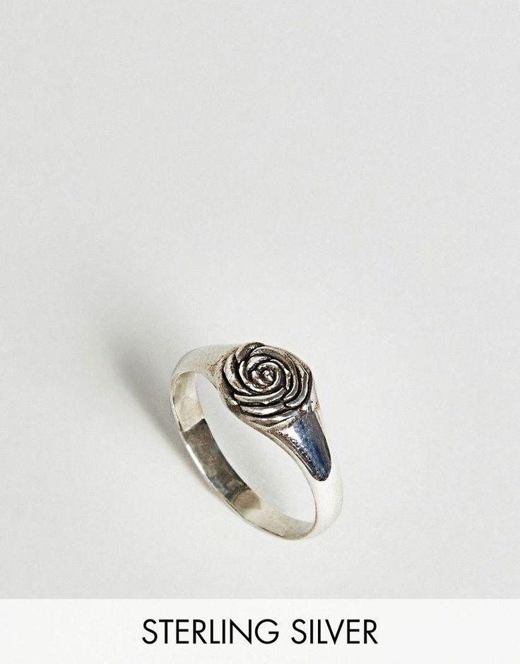 DESIGN sterling silver vintage style cross ring - Silver Asos SimdmU