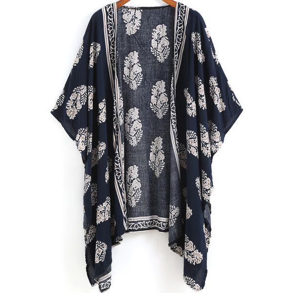 Navy Vintage Floral Loose Kimono found on Polyvore featuring outerwear, jackets, kimonos, tops, sweaters, black, vintage jacket, black kimono jacket, flower print jacket and black short sleeve jacket