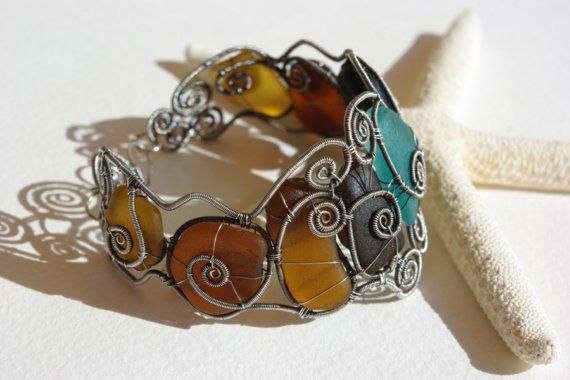 TURKISH DELIGHT. Wire wrapped seaglass bangle. #seaglass #Boho #jewelry