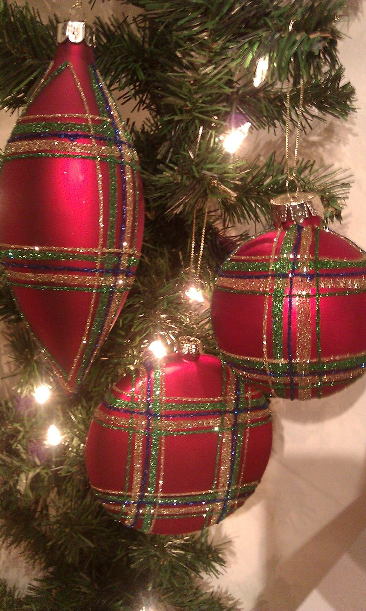 Red Plaid Ornaments
