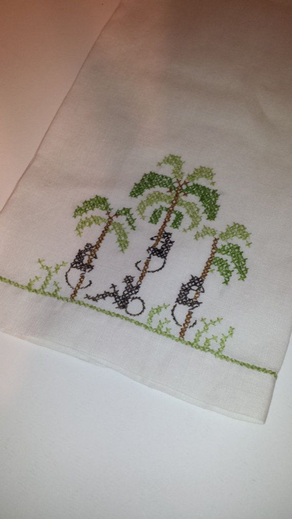 Cross stitched monkey in Palm trees  Linen by TeresaScholleDesigns