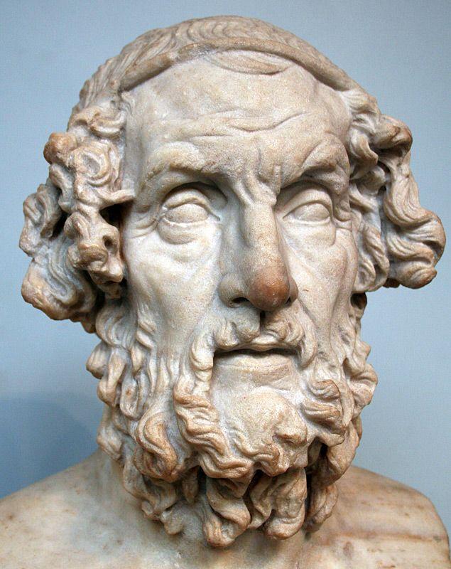 Homero  - poeta épico da Grécia Antiga, ao qual se atribui a autoria dos poemas épicos Ilíada e Odisseia.