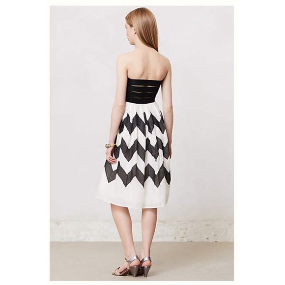 Anthropologie Chevron Dress Made by Leifnotes from Anthropologie. Strapless black and white chevron dress with strappy back detail. Worn twice. EUC Anthropologie Dresses Strapless