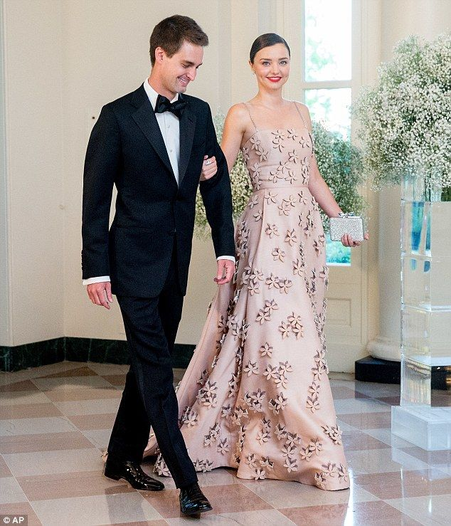Two's company: Miranda Kerr and Evan Spiegel stole the show at the White House Nordic State Dinner as they made a rare public appearance together and made for quite the handsome couple on May 13, 2016