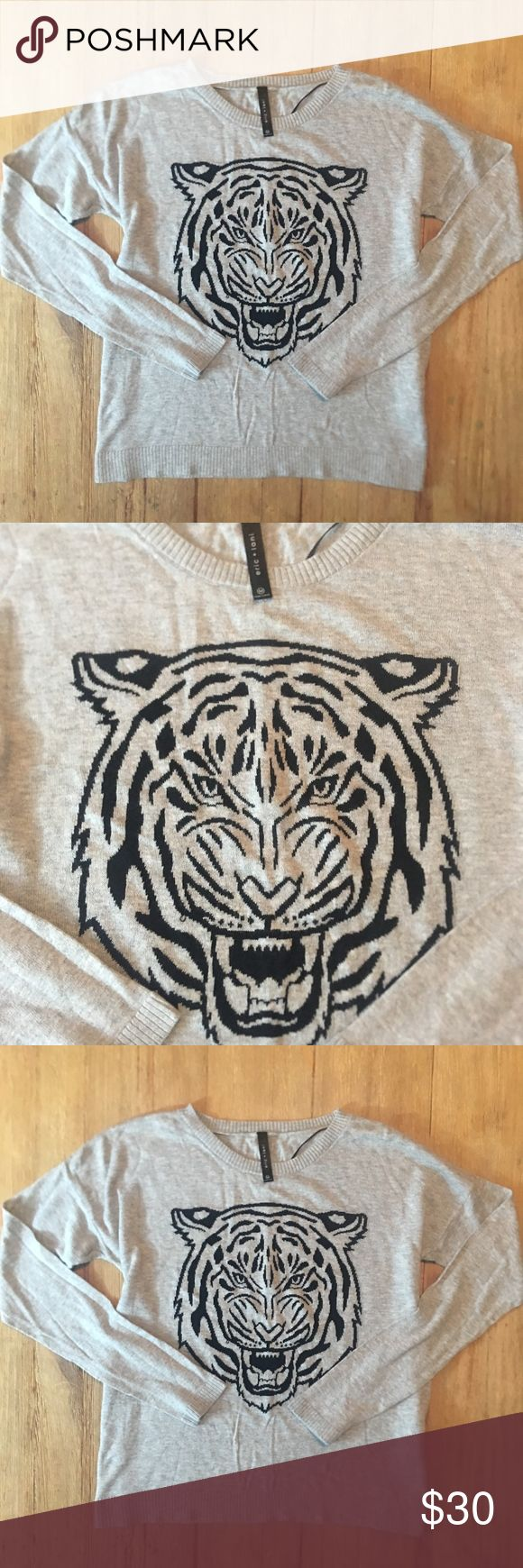 """Eric & Lani tiger sweater.   Fierce! Eric & Lani tiger sweater.   Perfect condition.     Length is approx. 21"""" and chest is approx. 17"""" across laying flat. Eric & Lani Sweaters"""
