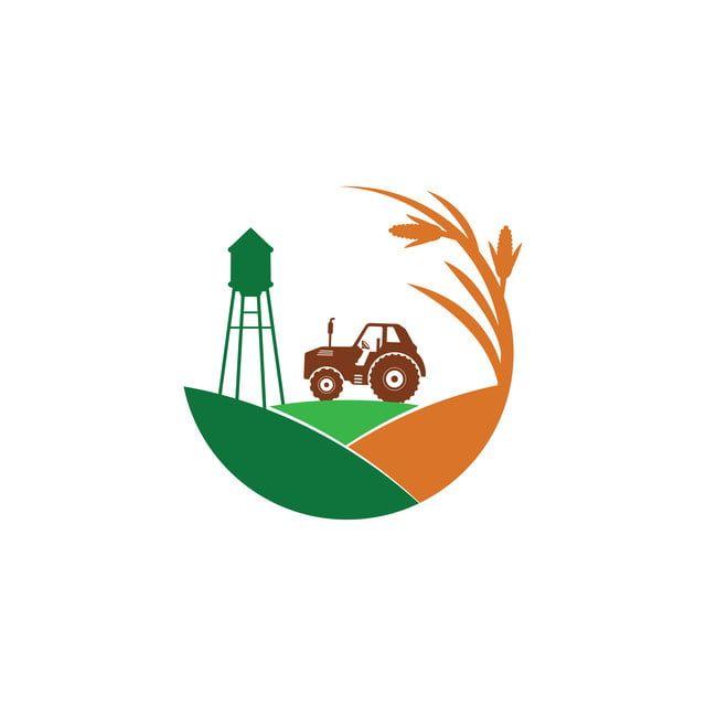 Diseno De Logotipo De Vector De Granja De Maiz De Agricultura Con Tractor Y Torre De Agua En Medio De La Colina Logo Icons Iconos Iconos De Granja Png Y Vect
