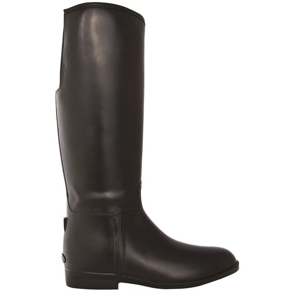 Dav Vegan Equestrian Solid Black Rain Boot ($110) ❤ liked on Polyvore