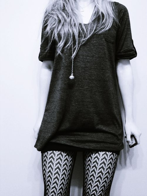 long t shirt and patterned tights