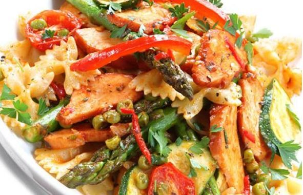 Chicken & Pasta Salad with Grilled Vegetables.  Grilled eggplant, zucchini, onion, red peppers and chicken and mix it all up. Healthy and easy to make! For more tasty poultry recipes visit: grannys.ca