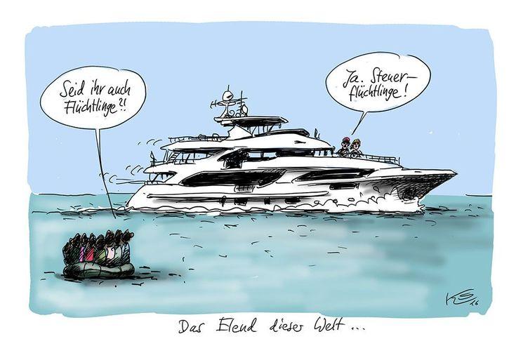 Karikatur vom 06.04.2016 - gewählt als Karikatur des Jahres 2016! #Finanzen #Flüchtlinge