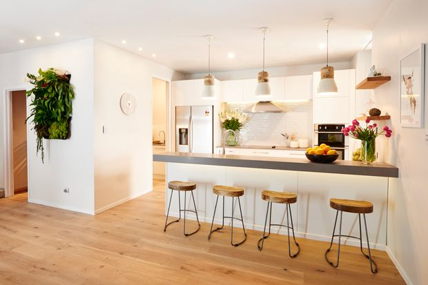 Jo and Damo's Kitchen from The Block NZ! Featuring our Ambient Pendant Lights.