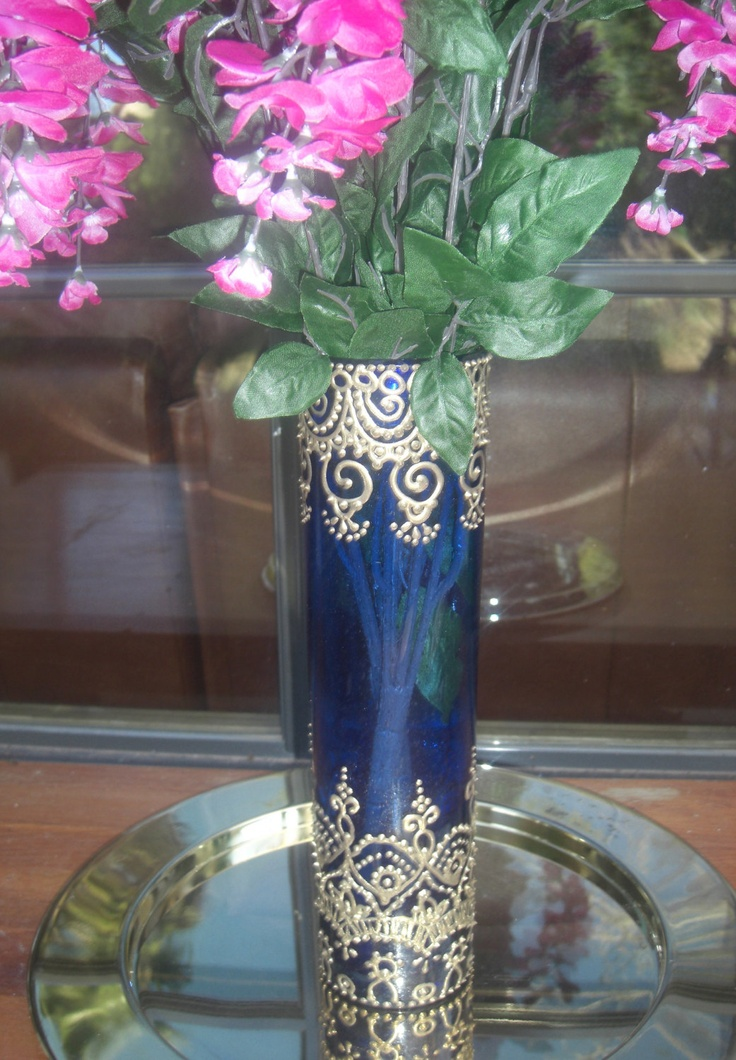Hand Painted Tall Blue Glass Vase with Moroccan Design FREE Shipping. $54.95, via Etsy.