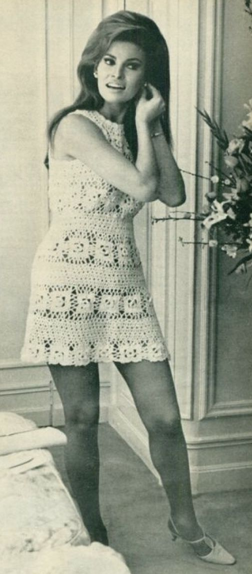 Bouffant hairdo, white lace minidress (early sixties)