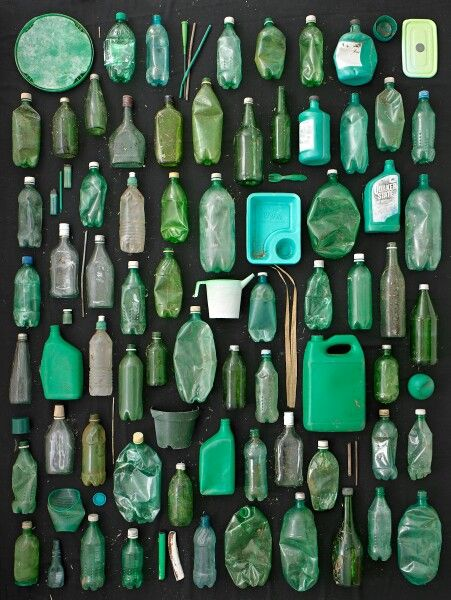 Green plastic. Finding ways of displaying plastic and rubbish I collected from the beach.