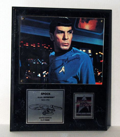 Limited Edition Star Trek Legend Leonard Nimoy Autograph Spock Hand Signed Star Trek 25th Anniversary Photo Plaque SN