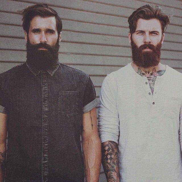 Luke Ditella & Levi Stocke - thick black beard and mustache dark red beard beards bearded man men mens' style fashion tattoos tattooed handsome bearding #beardsunited