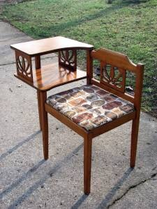 Vintage Wood Gossip Bench Telephone Chair Things To Warm