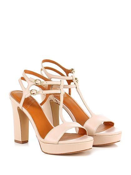 What for - Sandalo alto - Donna - Sandalo alto in pelle con doppio cinturino alla caviglia e suola in gomma. Tacco 115, platform 30 con battuta 85. - NUDE - € 159.00