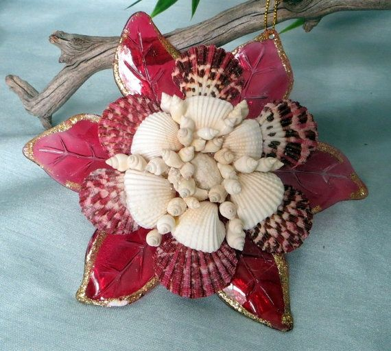 Seashell Ornaments | Seashell ornament in Poppy Red | Sandy Toes for Christmas