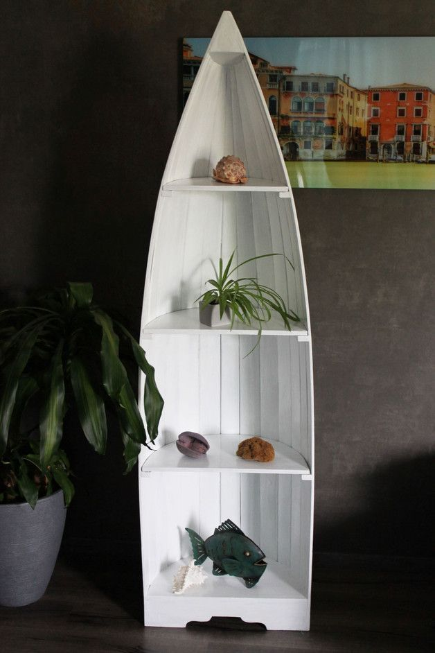 kleines Wandregal Boot Bootsregal Holz weiß maritim