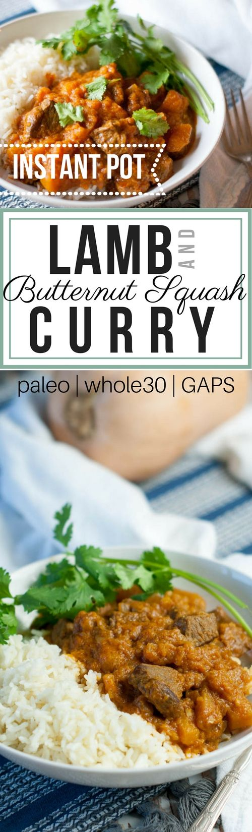 Lamb and Butternut Squash Curry recipe made in the electric pressure cooker (Instant Pot) starts with tender grass-fed lamb, diced butternut squash, creamy coconut milk, and loads of curry flavor.