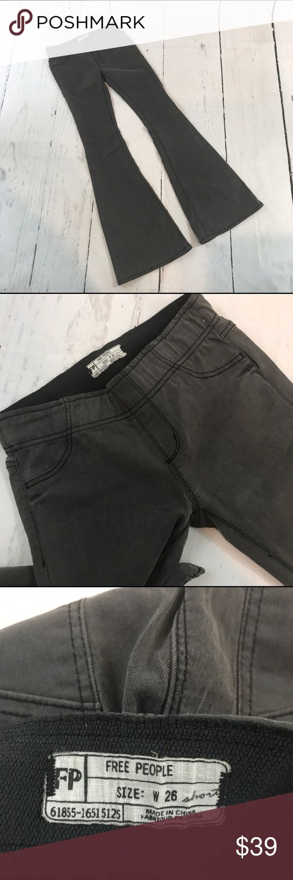 """💙💙 FREE PEOPLE PULL ON FLARE JEANS BLACK B19 Condition: Excellent pre owned condition Approximate measurements (laying flat): Size 26 Short. 13.5"""" waist 39"""" length 32"""" inseam  Item location: bin 19 Free People Jeans Flare & Wide Leg"""