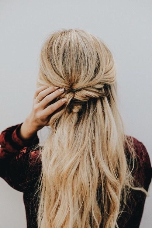 Twisted Braid Half Up Half Down Pulled Back Blonde Hair Beauty In