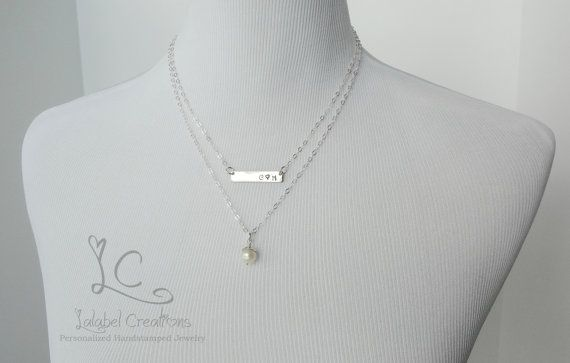 Nameplate Necklace Pearl Hand Stamped Bead Cap by LalabelCreations