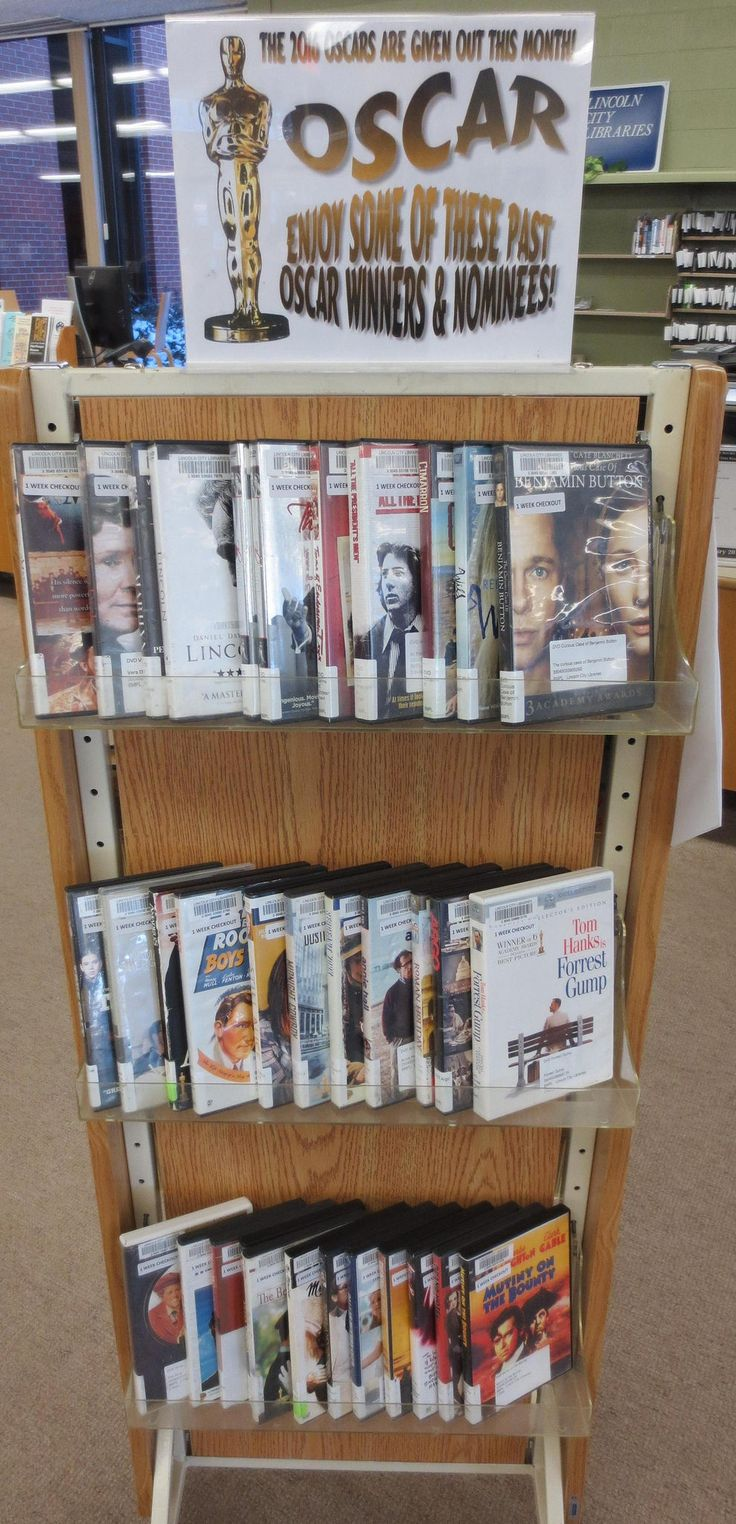 A DVD display featuring films that were either past Oscar winners or past Oscar nominees (in any category), set up in Feb 2016 at the Bennett Martin Public Library in downtown Lincoln, NE.