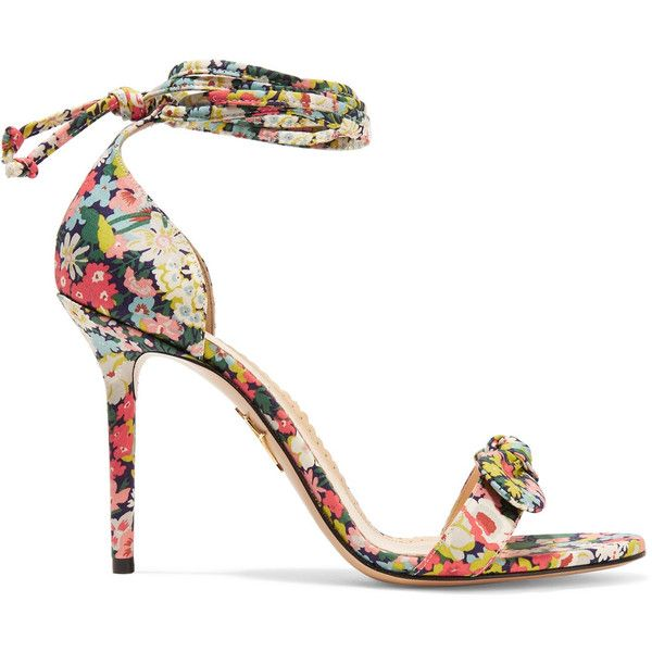 Charlotte Olympia Shelley bow-embellished printed cotton sandals ($610) ❤ liked on Polyvore featuring shoes, sandals, heels, yellow shoes, high heels sandals, bow shoes, floral high heel shoes and yellow high heel shoes