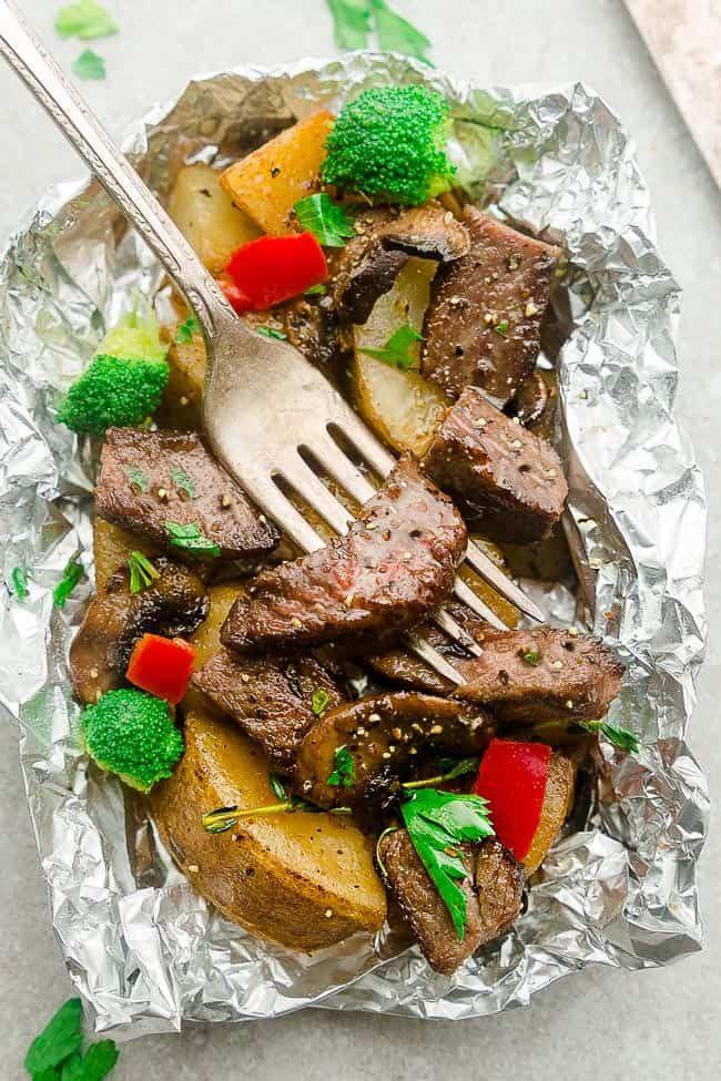 Teriyaki Beef Foil Packets Grill Or Oven Camping Steak Dinner Recipes Easy Steak Dinner Easy Steak Dinner Recipes