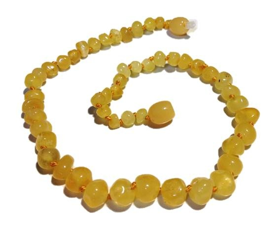 Genuine Baltic Amber Teething Necklace - White