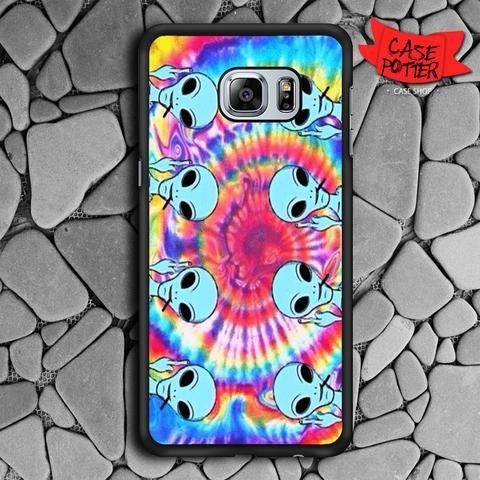 Tie Dye Color Alien Samsung Galaxy S6 Edge Black Case