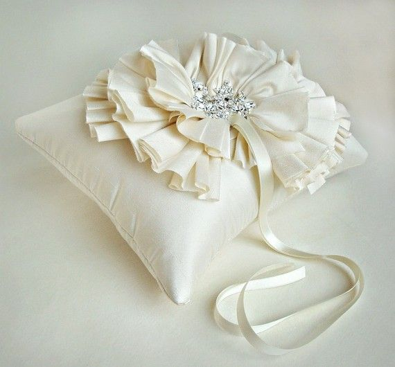 White or Ivory Silk Ruffle Ring Bearer Pillow by Emici Bridal