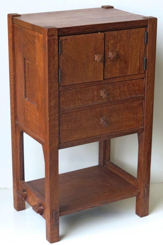 Gustav Stickley C.1901 Oak Work Cabinet From Estate #GustavStickley