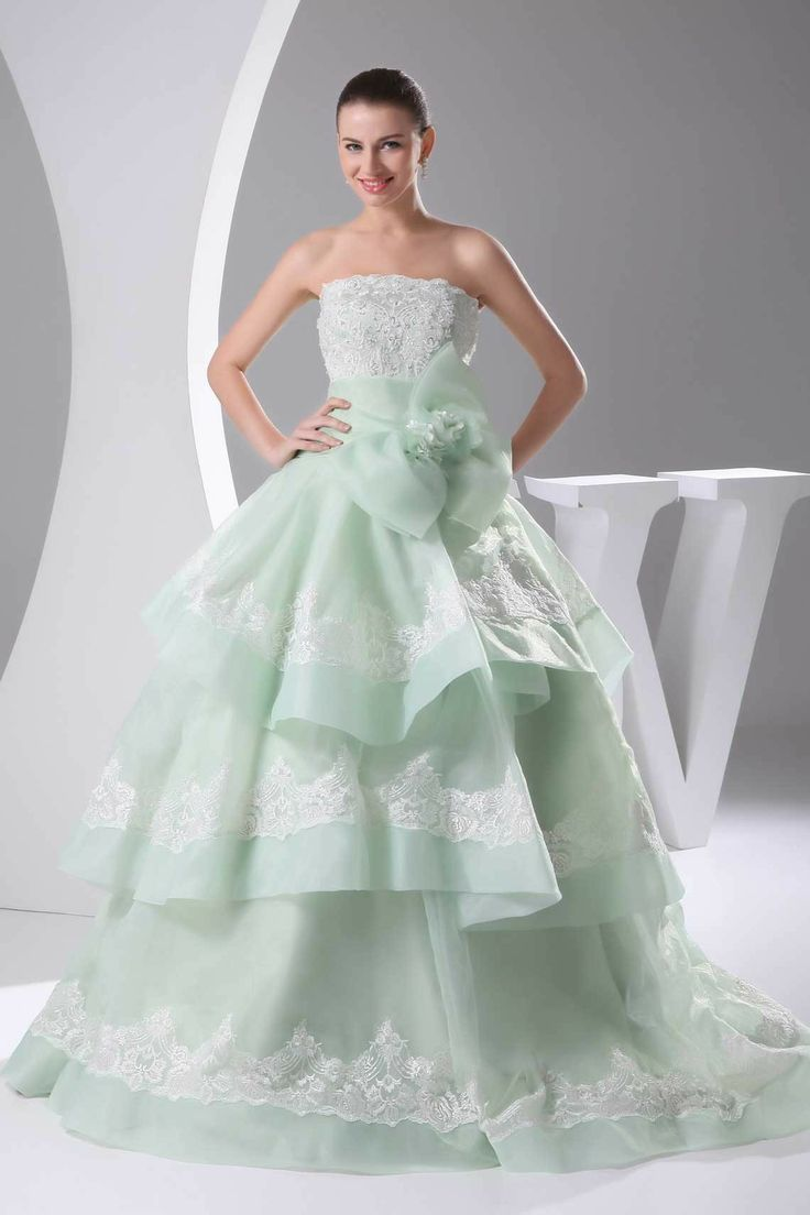 Ball Gown Mint Organza Floor-Length Strapless Wedding Dress With Embroidery