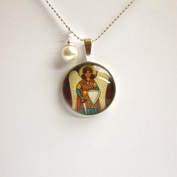 St Michael necklace St Michael pendant Saint Michael pendant Saint Michael necklace Archangel Michael Saint Michael medal Communion necklace